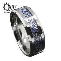 Queenwish 6 мм/8 мм Синий серебрение CZ кельтский Дракон Вольфрам карбида кольцо мужские ювелирные изделия обручальное Размеры 5 -13