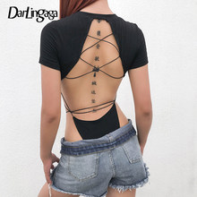 Darlingaga Backless Cotton Black Sexy Bodysuit Body Women Bandage Short Sleeve Fashion Summer Jumpsuit Romper High Waist Clothes(China)