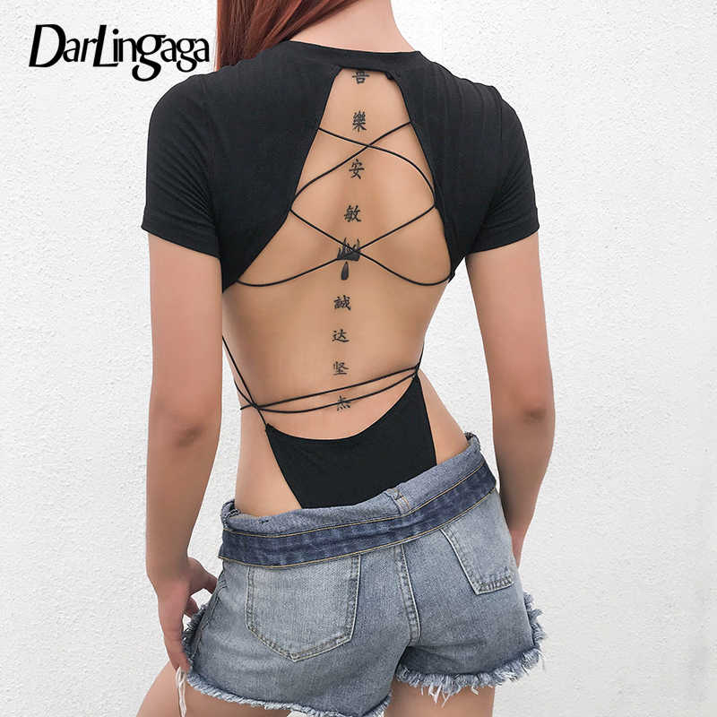 Darlingaga, черный хлопковый сексуальный боди с открытой спиной, боди для женщин, повязка с коротким рукавом, Модный летний комбинезон, комбинезон с высокой талией, одежда