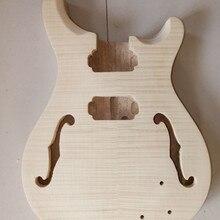 Незавершенный 1х гитарный корпус клен Топ из цельного дерева Diy гитарные части#2