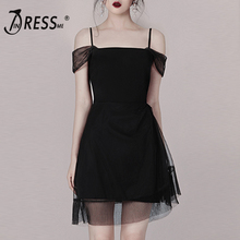 INDRESSME 2019 New Women Strapless Off Shoulder A-Line Hollow Out  Backless Mini Bodycon Fashion Party Dress Summer Vestidos
