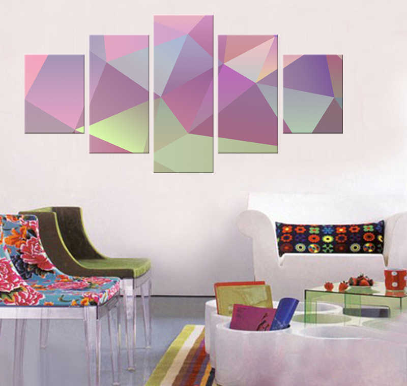 Abstract color geometric drawing painting canvas mural art home decoration living room canvas poster modern paint 5 pieces / set