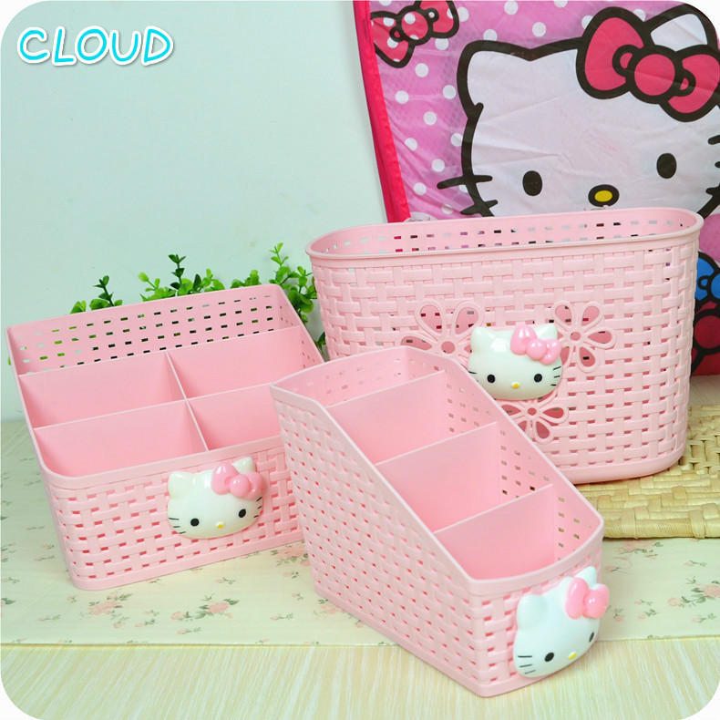 Hot Sale Cute Hello Kitty Multifunction Office Desktop Storage Boxes Makeup Organizer Storage Box