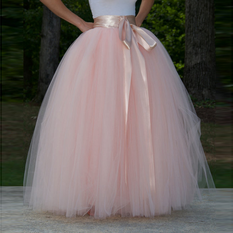 75f455ac6f1b1 US $42.3 6% OFF|Super Lush Pink Tulle Skirt High Quality Floor Length Ball  Gown Formal Party Skirt with Sash Extra Puff Bridal Wedding Skirt-in Skirts  ...