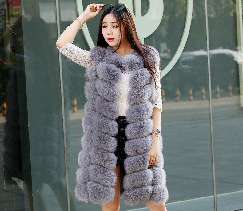 Осенне зимняя обувь кожа высокого качества меха лисы длинные пальто с мехом теплый жилет