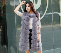 Autumn and winter leather high quality fox fur long fur coat warm vest