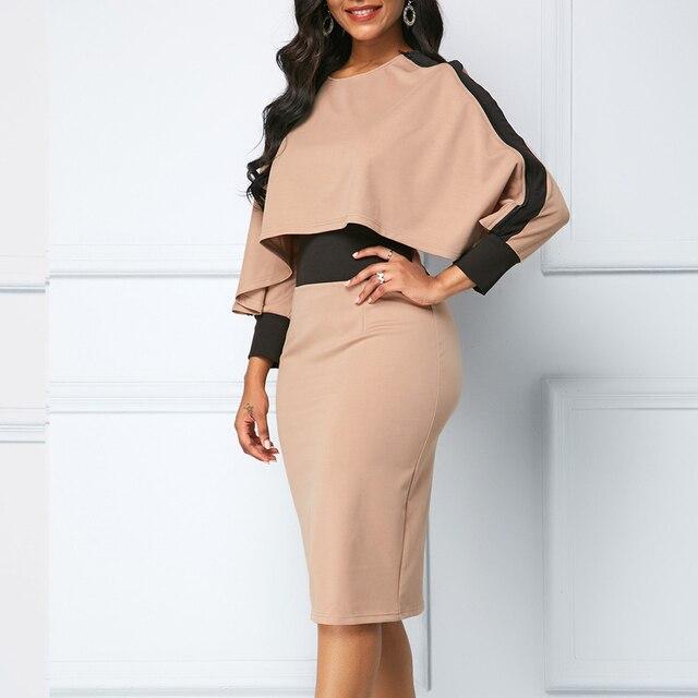 Winter Autumn Dress Women 2019 Casual Plus Size Slim Office Bodycon Dresses Elegant Vintage Sexy Split Patchwork Party Dress 5XL 2