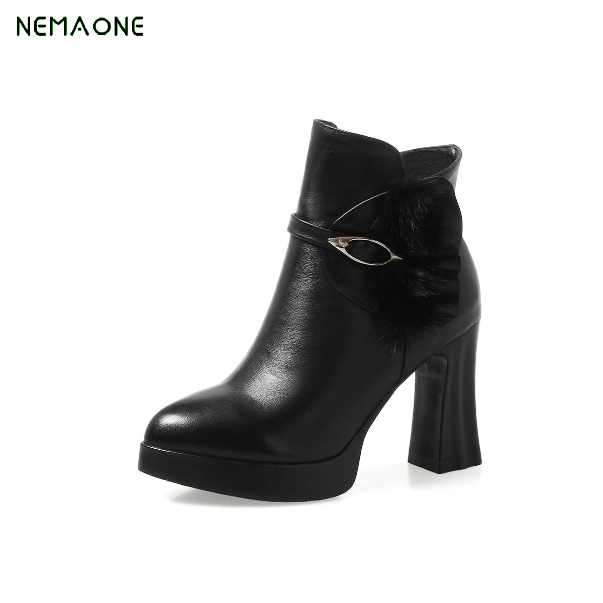 NEMAONE 2017 Large Size 33-42 Short Boots Leisure Platform High Heels Winter Shoes Women Ankle Boots Black White large size 33 42 sexy ankle boots platform thin high heels women boots plush inside keep warm black white apricot brown shoes