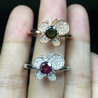 925 silver inlaid Tourmaline Ring fashionable Sterling Silver Butterfly Ring open