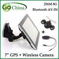 7 дюймов GPS навигатор навигация + 2.4 г ночного видения беспроводной заднего камера заднего вида, 256 м 8 г 800 мГц автомобильный GPS bluetooth AV-IN вздрагивание 6.0