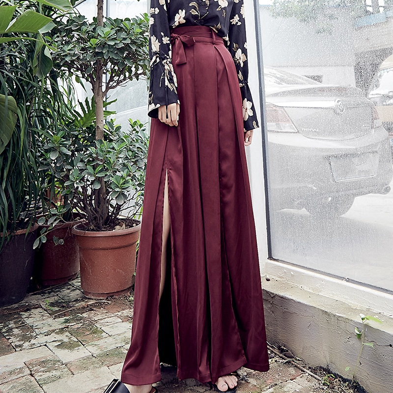 Mode Dames Scission Haute Maxi Large Femmes Jambe D'été Nouvelle Taille Long Printemps Bourgogne Lacer Pantalon 2018 Mince Et 84qCA6Fn