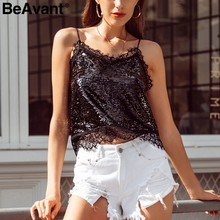 BeAvant Sequin v-hals strap tank top vrouwen Streetwear party club sexy top vrouwelijke Backless camis dames mouwloos shirt tops(China)