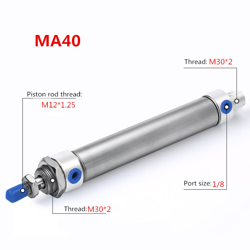 Pneumatic MA series Stainless Steel Air Cylinder bore with magnet 40mm stroke 25 300mm double acting Single Rod Air Cylinder