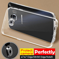 S6 / S7Case Ultra fina e transparente limpar TPU caixa do telefone para Samsung Galaxy S7edge Note5 Camera proteger com poeira Plug capa HU714