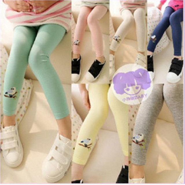 New Hot Kids New Pants Leggings Korean Version of The New Children Embroidered Bird Girls Leggings Autumn With High Quality