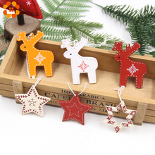 6PCS DIY Creative Christmas Printed Deer/Star Pendant Ornaments Kids Gifts  Home Party Xmas Tree Decorations
