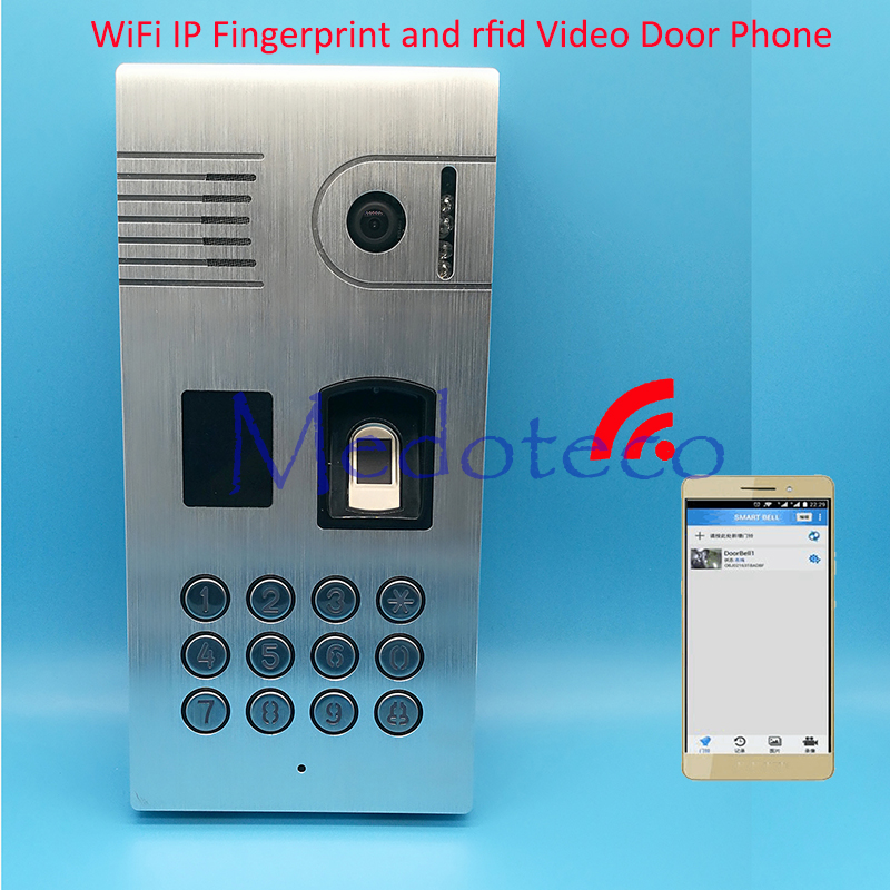 WiFi IP Fingerprint Door Bell Fingerprint and rfid video door phone with App video door phone Access Control system biometric fingerprint access controller tcp ip fingerprint door access control reader