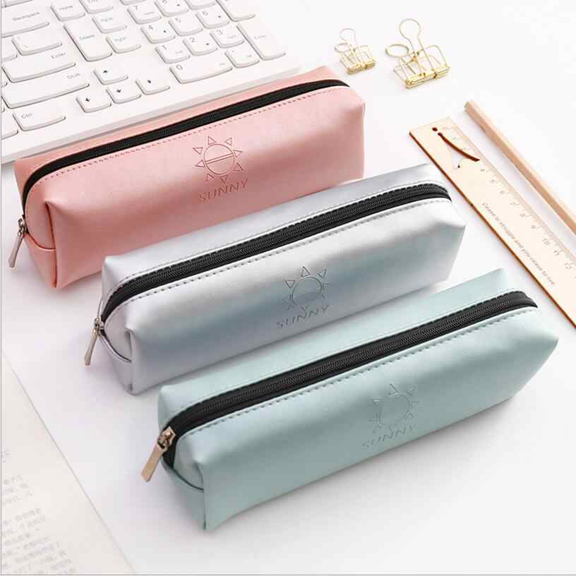 Creative fresh Large capacity male and female general purpose pu Leather pencil bag school Office stationery Supplies