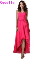 2017 Real Long High Low Fuchsia Bridesmaid Dresses For Cheap Sweetheart Pleat Chiffon Country Wedding Guests Dresses Rustic
