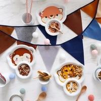Baby Dinnerware Children Dinnerware Ceramic Cartoon Breakfast Breakfast Plate Bowl Cute Home Separate Children's Tableware