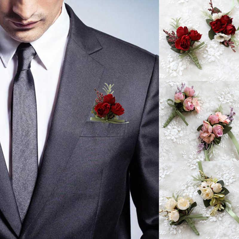 Buatan Tangan Pengantin Pria Korsase Boutonniere Pernikahan Pergelangan Tangan Korsase Pengantin Tangan Bunga Lavender Korsase Bros