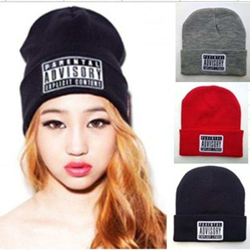 1 PCS Free Shipping Hiphop PARENTAL ADVISORY EXPLICIT Beanies For Man Women Woolen Knitted Hat Sport Cap Warm Hats Autumn Winter