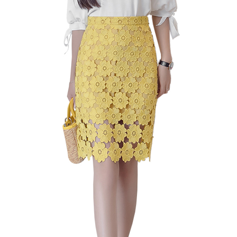 00bdcdcc3762e Detail Feedback Questions about Crochet Hollow Lace Skirt 2018 Office Ladies  Female Shirts Elegant Summer High Waist Pencil Skirts Womens Midi Skirt  White ...