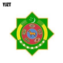 YJZT 12.9 CENTIMETRI * 12.9 CENTIMETRI di trasporto Creativo Turkmenistan Auto Scudo Adesivo Coat Of Arms PVC Della Decalcomania Accessori 6-2096
