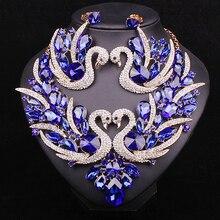 Ensemble de bijoux de mariée en cristal cygne bleu, grand collier épais, ensemble de boucles doreilles, accessoires de fête de mariage pour femmes
