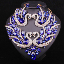 Fashion Blue Crystal Swan Bridal Jewelry Sets Big Statement Chunky Necklace Earrings set Party Wedding Costume Accessories Women