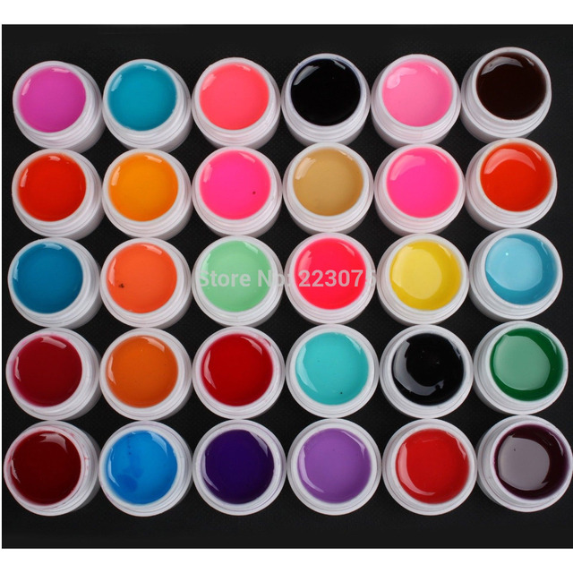 Hot DIY New 30 PCS Mix Colors Glass UV Builder Gel Acrylic Nail Art Set for Nail Art Tip