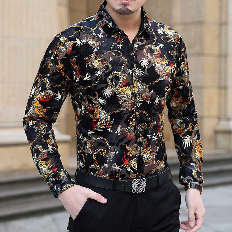 ムー元陽長袖ドラゴンパターン男のシャツ新ファッションデザイナー高品質男性シャツスリムフィット男性のためのシャツ