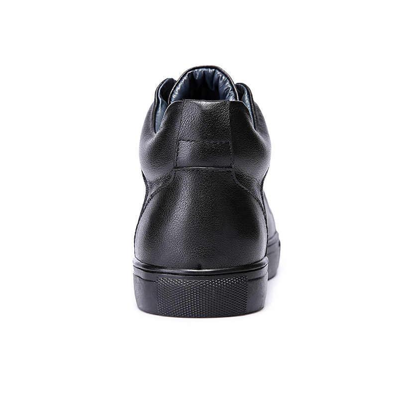 ROXDIA ของแท้หนังผู้ชายข้อเท้ารองเท้าบู๊ตหิมะฤดูหนาวแฟชั่นอบอุ่นทำงานชายกันน้ำสำหรับรองเท้าบุรุษ plus ขนาด 39- 48 RXM051