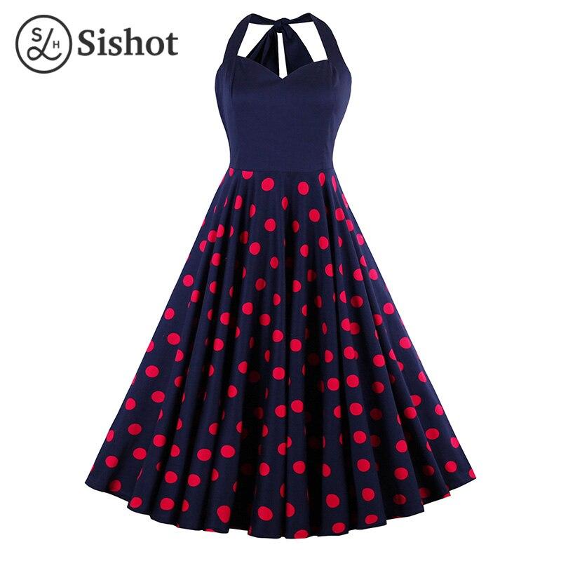 Sishot women retro dress 2017 summer sleeveless red polka dots sexy halter a line blue knee length dot patchwork vintage dresses