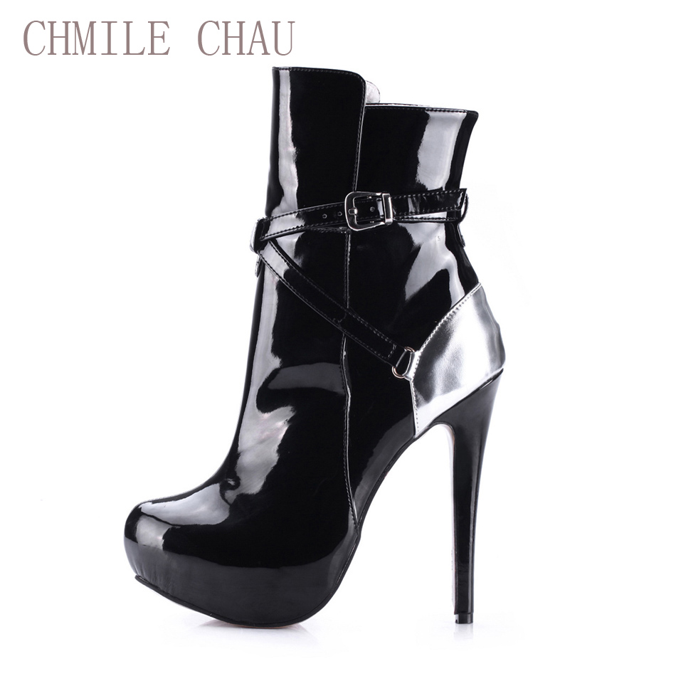 CHMILE CHAU Fashion Dress Party Shoes Women Round Toe Stiletto High Heels Buckle Ladies Mid-Calf Boots Zapatos Mujer 3463BT-c2 double buckle cross straps mid calf boots