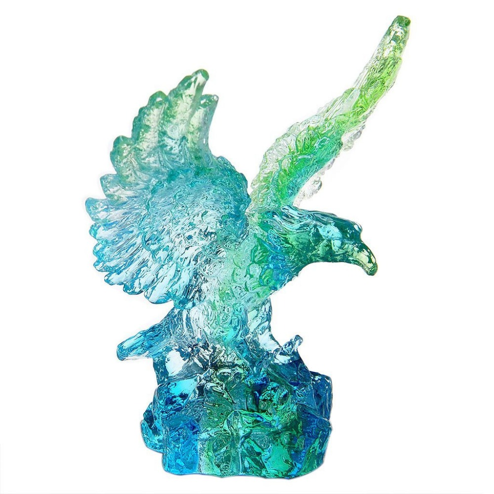 Glass animal ornaments - Eagle Feng Shui Liu Li Crystal Figurines Animal Paperweight Craft Collection Nature Stone Art Collection Table