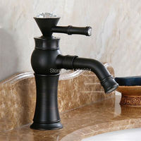 Wholesale And Retail Promotion Black Brass Bathroom Basin Faucet Crystal Handle Swivel Spout Sink Mixer Tap