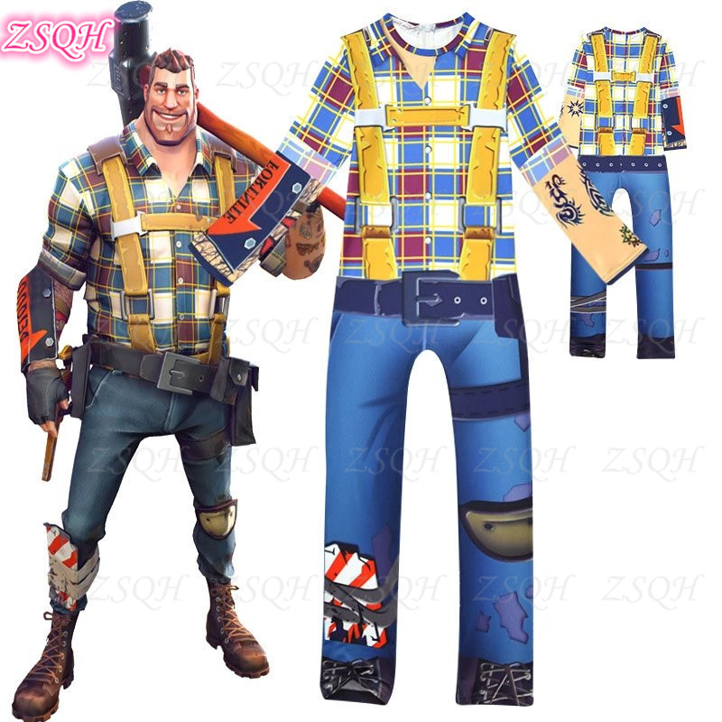 ZSQH Fortnight Builder Jumpsuit fortnited game Battle Royale Costume Cosplay Costume for kids CHILDREN FORTNIT boys bodysuit