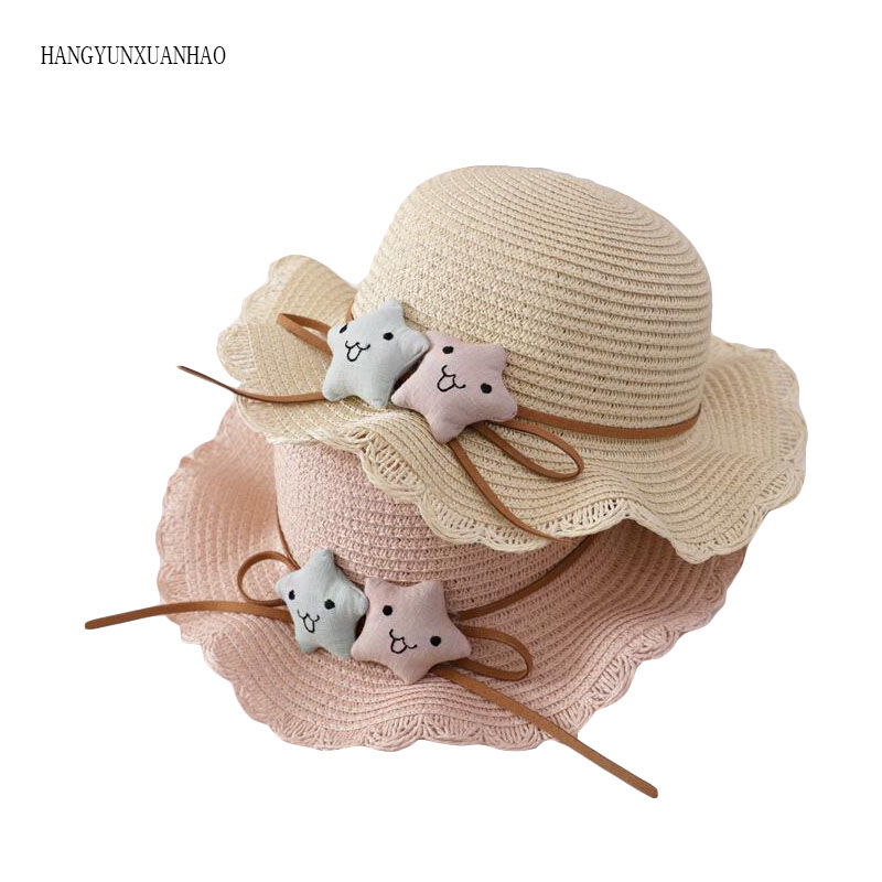 HANGYUNXUANHAO Two Stars Boys Girls Straw Hats Summer Sun Hats For Children Travelling Holiday Beach Hats Kids Sunscreen Caps