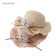 цены HANGYUNXUANHAO Two Stars Boys Girls Straw Hats Summer Sun Hats for children Travelling Holiday Beach Hats kids Sunscreen Caps