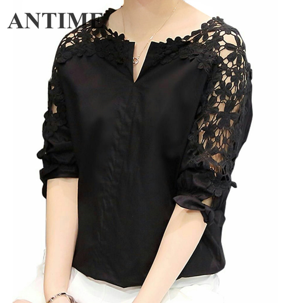 ANTIME Hollow Out Casual Short Sleeve Women Blouses Shirt Lace Chiffon Floral Plus Size V Neck Tops Clothing Ladies Blouses