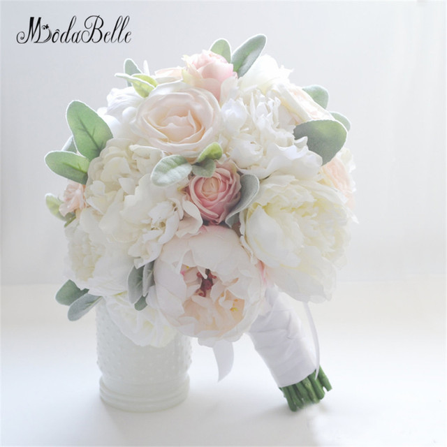 Ivory Silk Flowers Peonies Wedding Bouquet Roses For Sale Bridal ...