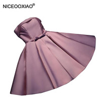 NICEOOXIAO Pink Strapless Short Evening Dress Bowtie Sashes Party Ball Gown 2018 Women Elegant Padded Formal Dress Plus Size