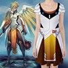 Takerlama Game Over Watch OW Mercy Angela Ziegler Cosplay Dress D VA Dress Women Lolita Stretchy