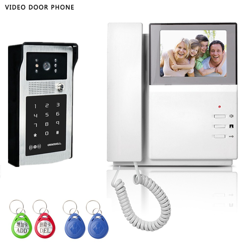 New 4.3inch Video Doorphone System Visual Intercom Doorbell High Definition Monitor ID Card& Password Unlock waterproof Camera 7 inch wired high definition swipe card embedded installation video doorbell