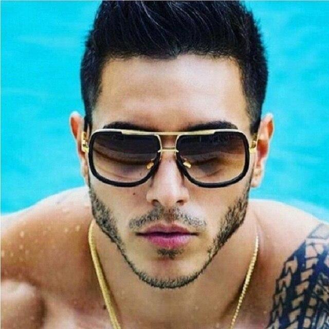 b086bc81bee Coodaysuft Oversized Men Sunglasses Women Brand Designer Flat Top Mirror Sun  Glasses Square Gold Male Female