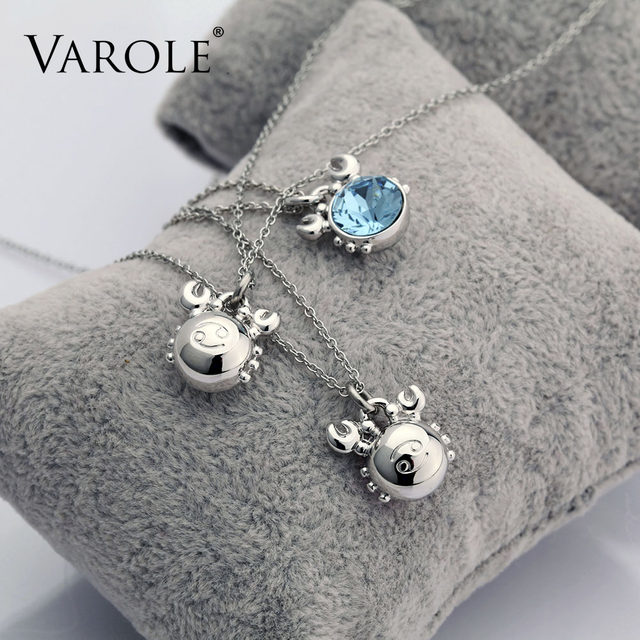 VAROLE Zodiac Cancer 16in Chain Necklaces Pendants For Women Birthday Gift Constellations Jewelry Free Box