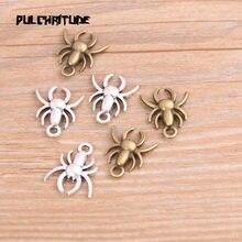 20 sztuk 14*17mm nowy produkt dwa kolor pająk Charms wisiorek z motywem zwierzęcym biżuteria Metal biżuteria ze stopu znakowania