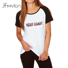 Plus size T Shirts Women 2017 Summer Letter Printing T-shirt WEST COAST Tees Tops Ladies Casual Cotton Blend Loose Tshirt