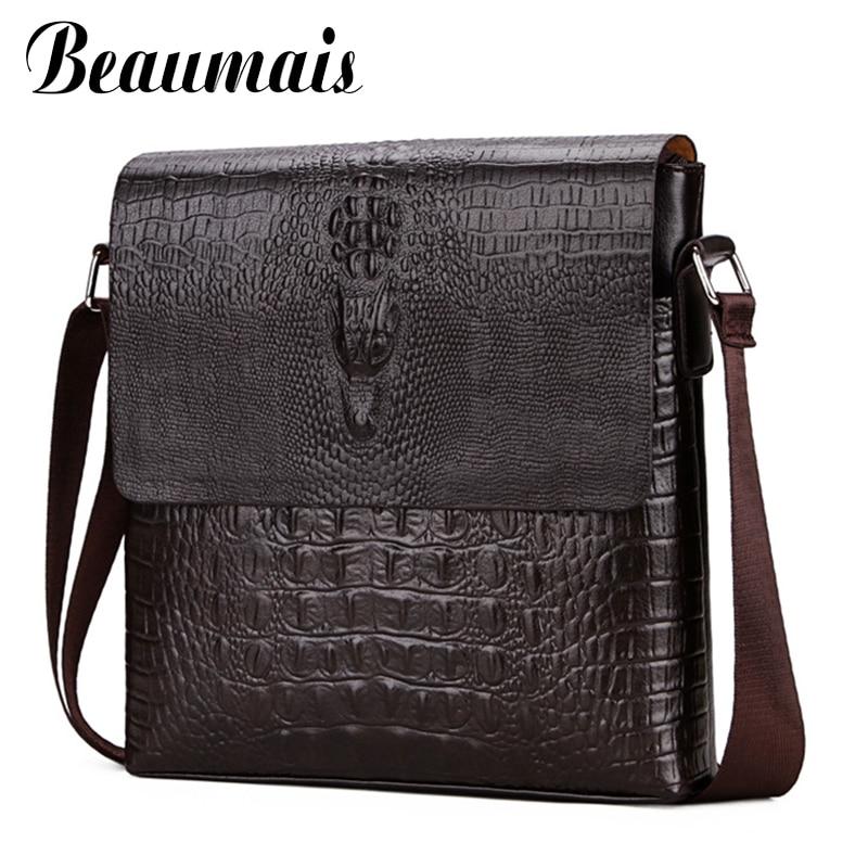 Men Messenger Bag Fashion Small Shoulder Bags For Men Crocodile Pattern PU Leather Bag Mens Business Crossbody Bag WBS420